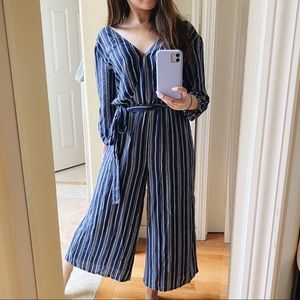 NWT • Anthropologie Hutch Striped Blue Jumpsuit